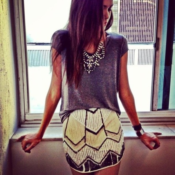 skirt clothes shirt edgy beaded glitter tribal pattern white black grey tan su summer t-shirt jewels necklace sequin skirt jewelry statement necklace sparkle brand how much it cost where to get it? :) sparkle yellow beaded outfit pearl lovers boho azthek mini skirt orange skirt neon skirt yellow / white sequins top nackle trendy plaid skirt gold sequins grey top t shit fashion