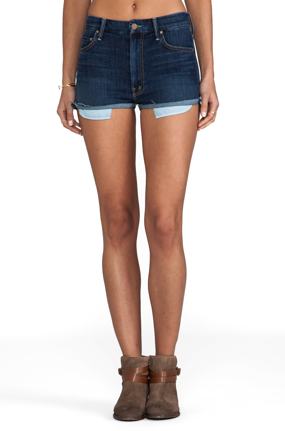 MOTHER High Waisted Cutoffs in Flowers From the Storm from REVOLVEclothing.com