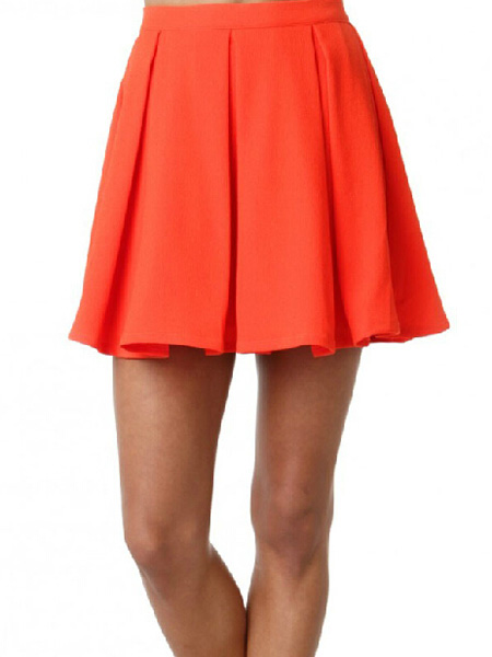 Solid color orange red back hidden zip mini stretch skirt