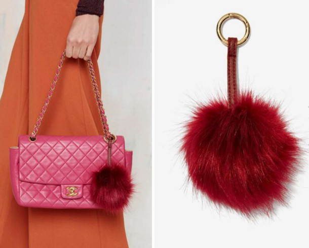 jewels faux fur fur keychain burgundy keychain fall accessories nastygal fur  trendy accessories Accessory jewel cult 40c8d4c83158