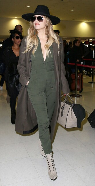 jumpsuit olive green khloe kardashian boots hat coat shoes