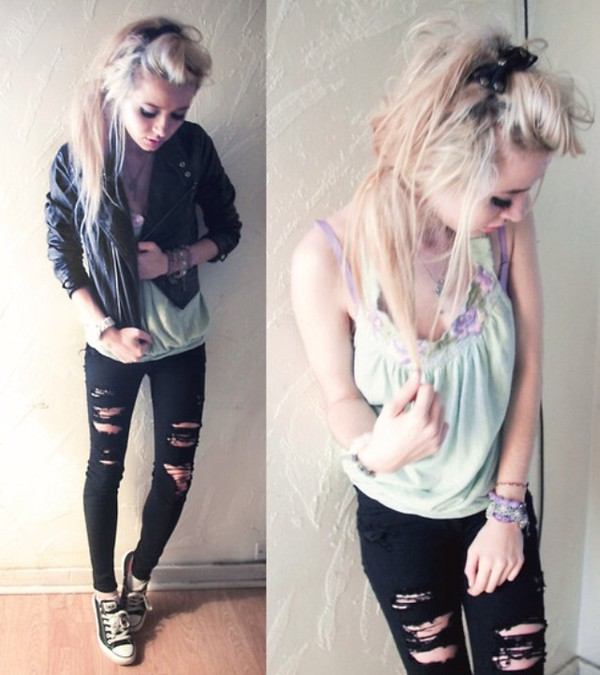 jeans black jeans black ripped jeans blue tank top jacket blouse