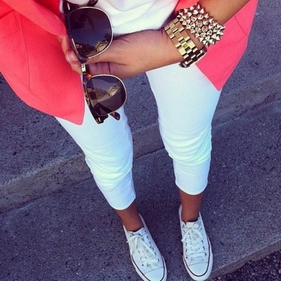 wall pants white jewels paint decoration snake print pants jacket sunglasses gold bracelets spike bracelet jewelry