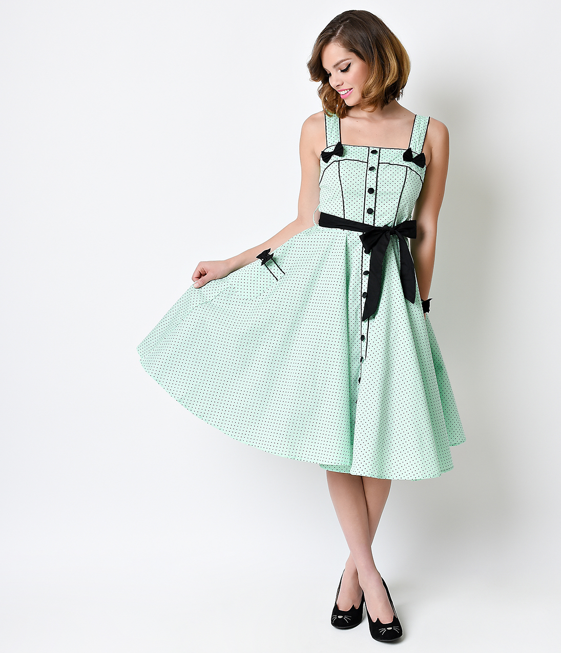 Bunny Retro Pin-Up Mint Dot Martie Swing Dress