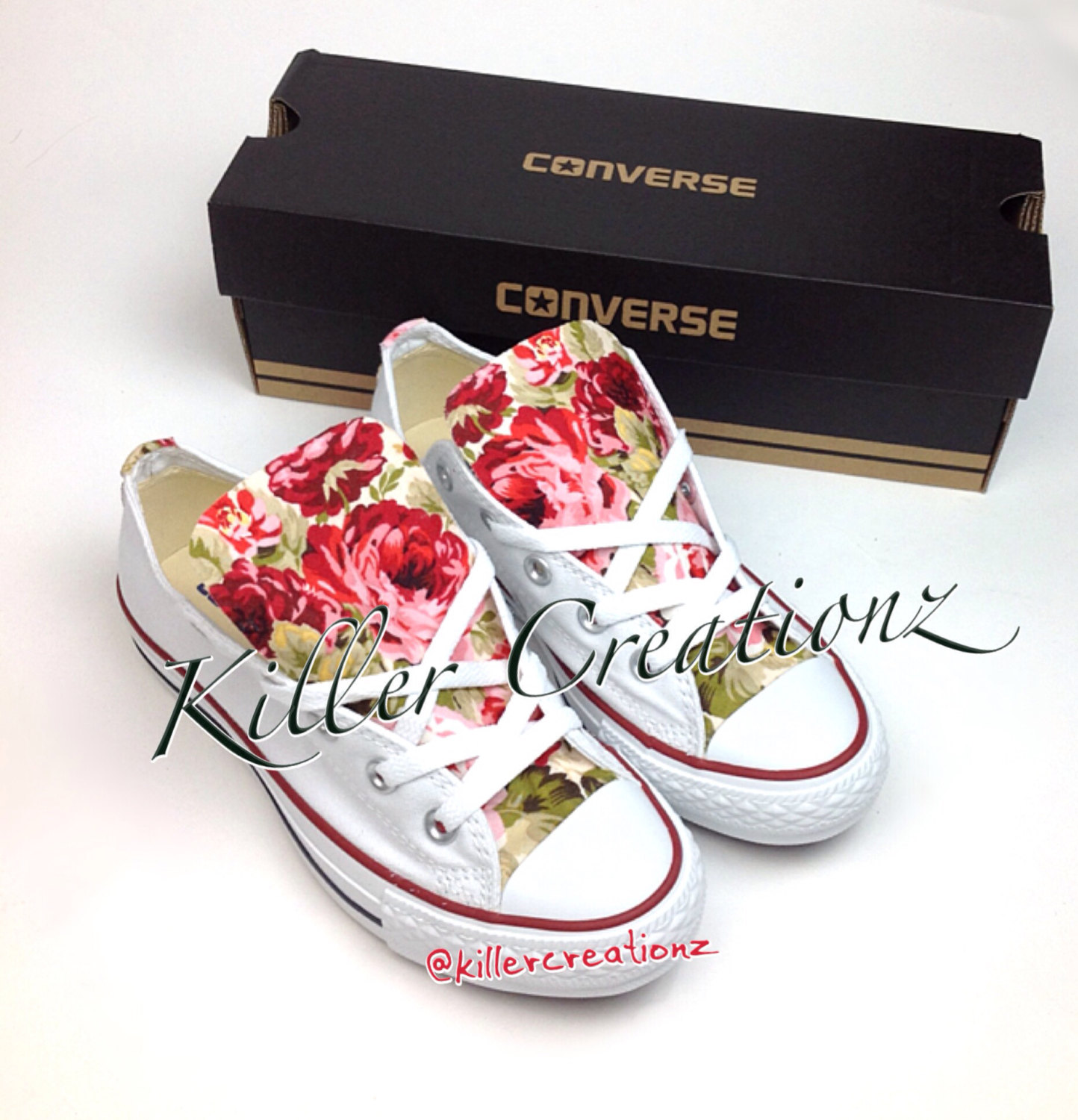 Custom Converse low tops with floral print ANY SIZE 62689e175c3d