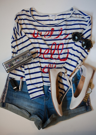 noelles favorite things blogger striped top flats round sunglasses sailor outfit
