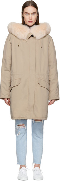 Army By Yves Salomon parka long fur classic pink coat