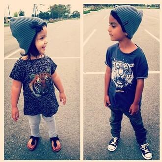 shirt girl guys hat beenie tiger leopard print tiger shirt kids fashion fashionkids toddler