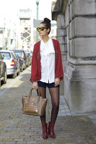 from brussels with love blogger shorts red jacket white blouse purse