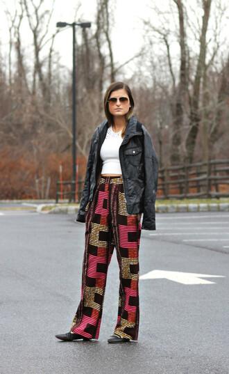 to be bright blogger pants black jacket printed pants