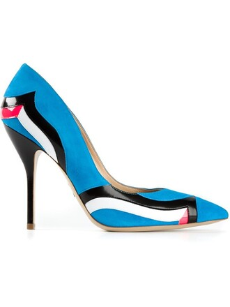 women pumps leather blue suede shoes