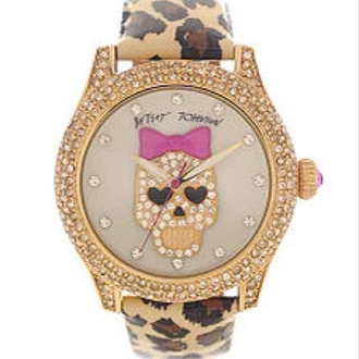 jewels watch betsey johnson skull leopard print