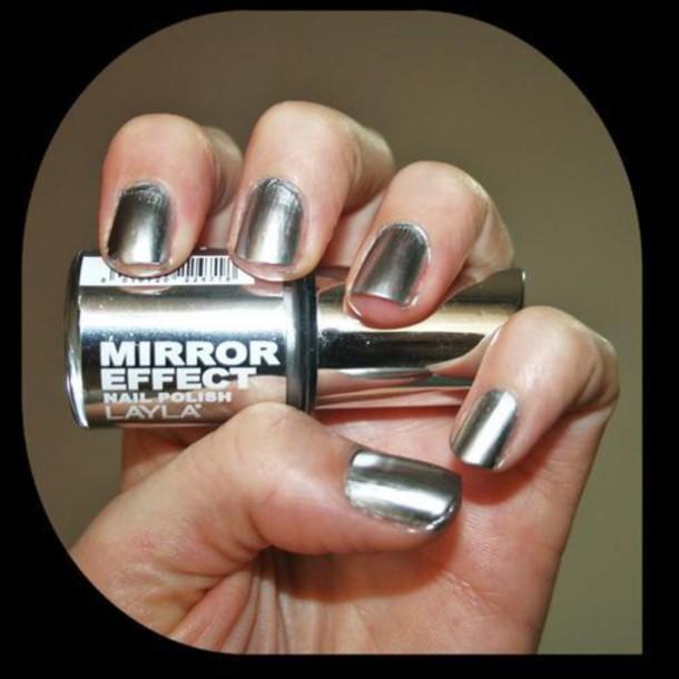Nail Polish, Mirror, Nails, Silver