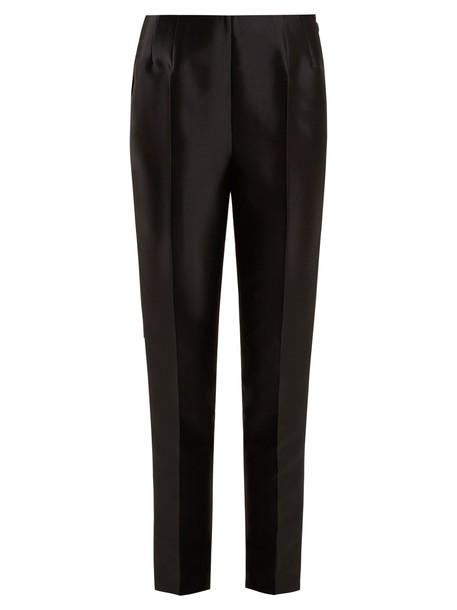 silk wool black pants