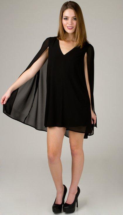 Flowy chiffon cape dress
