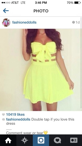 dress plz yellow see through