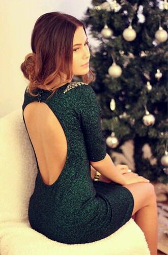 dress green dress jeweled dress backless dress