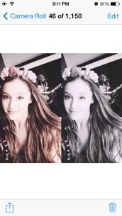 jewels,ariana grande,flower crown,beautiful,pretty,hair,idol,hair accessory,petals,spring,girly,flower headband,hairtie