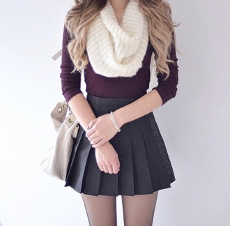 top sweater skirt fashion scarf look shirt infinity scarf burgundy blouse burgundy sweater knitted scarf pleated skirt black skirt