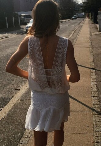 romper lace dress white lace dress open back dresses open back top skirt open back shirt lace skirt white top white dress white skirt