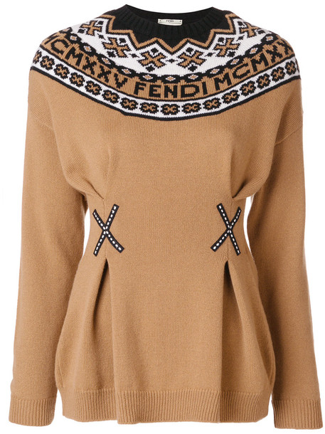 Fendi sweater women wool brown