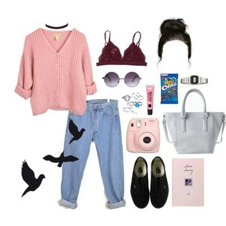 top pink knit cardigan sweater jeans clothes outfit button up blouse brallete pink cardigan aesthetic aesthetic tumblr polyvore choker necklace boho girly vintage cropped boyfriend jeans blue 90s style
