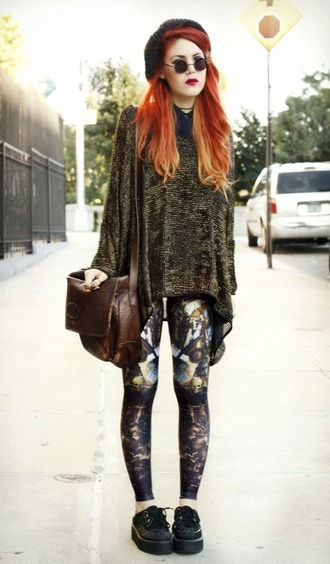top grunge soft grunge indie hipster oversized sweater leggings bag