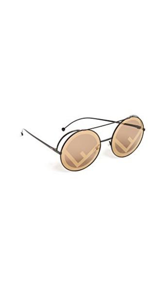 Fendi holographic sunglasses gold brown