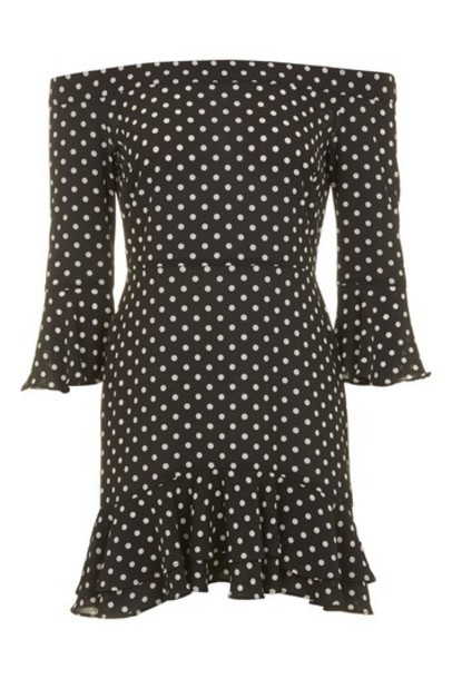 Topshop dress bardot dress black