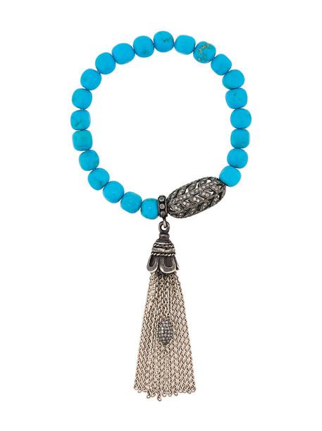 Loree Rodkin women beaded charm bracelet silver blue jewels