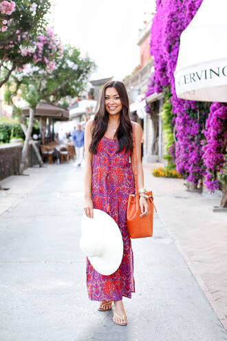 with love from kat blogger dress maxi dress paisley purple dress leather bag bucket bag summer dress