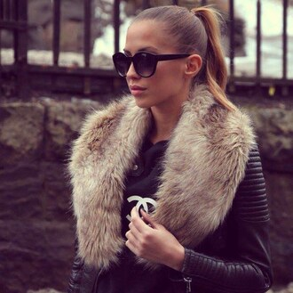coat fur black jacket faux fur brown cream fluffy fur collar collar leather black leather jacket phone cover chanel sunglasses zara leather jacket fur jacket faux fur jacket fur coat black fur scarf blouse love is in the air jacket leather black