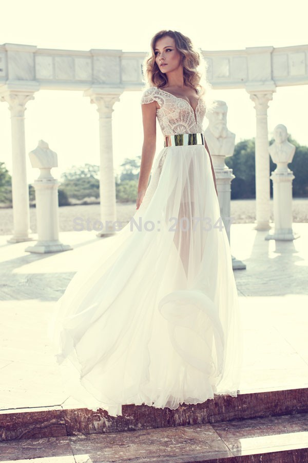gown corset Picture - More Detailed Picture about Charming Sexy All over Beading Corset Two Style Neckline Optional Cap Sleeve Chiffon Evening Party Dress Prom Dresses 2014 Picture in Prom Dresses from No.1 SuZhou Evening& wedding dress store8
