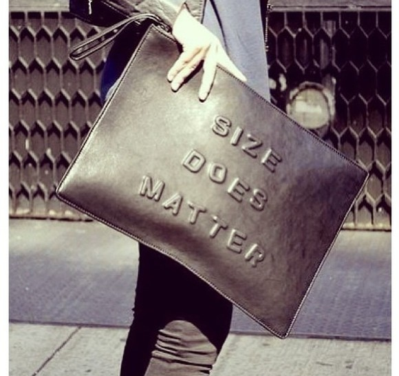 black oversized bag metallic clutch large bag embossed writing slogan accessories statement size does matter