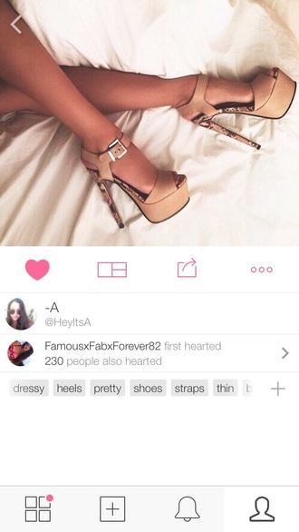 shoes nude beige animal print platform shoes buckle heels platform heels