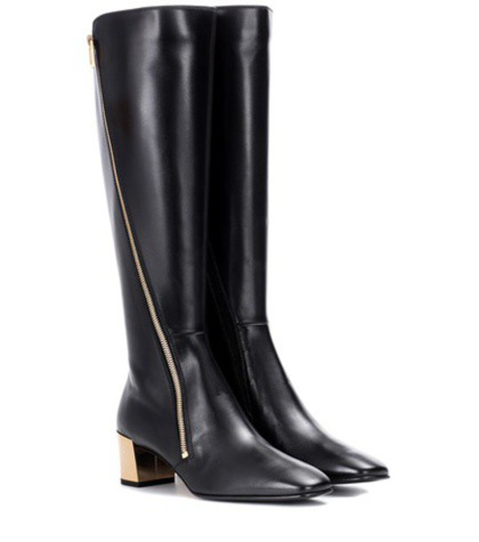Roger Vivier zip boots leather boots leather black shoes