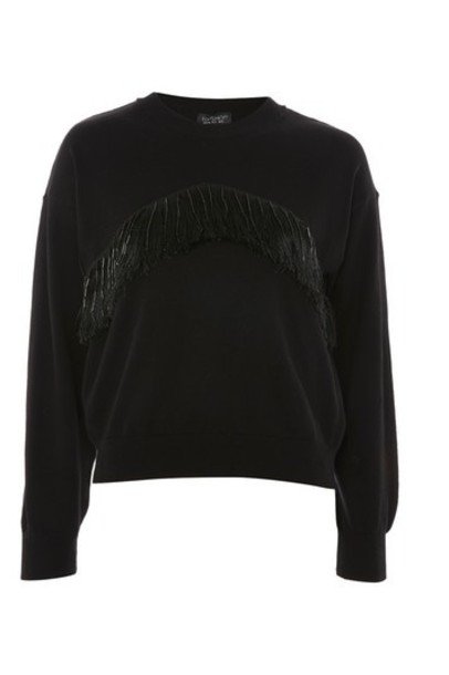 Topshop sweater tassel beaded black