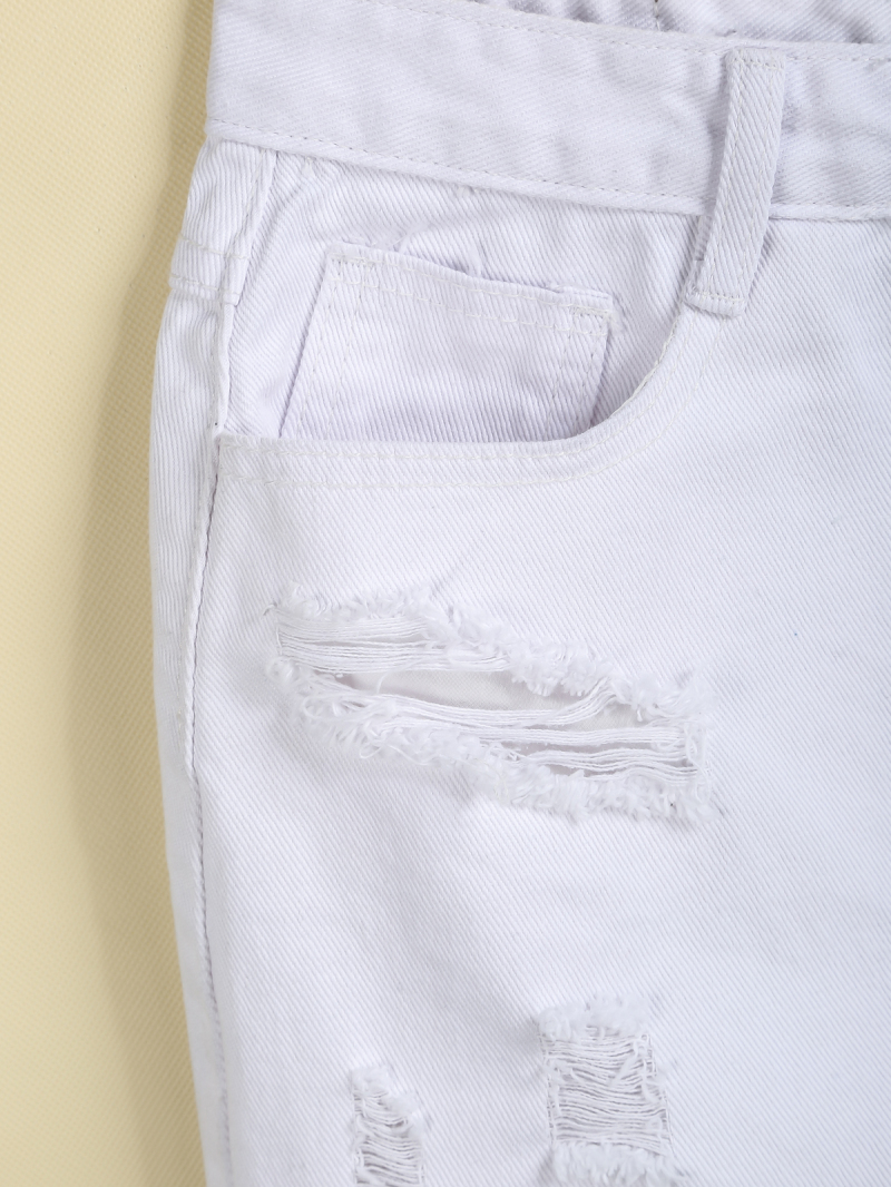 White Ripped Pockets Fringe Denim Skirt - Sheinside.com