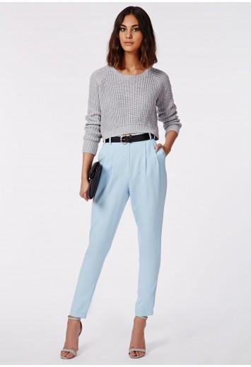 Uttara high waisted tailored belted trouser powder blue