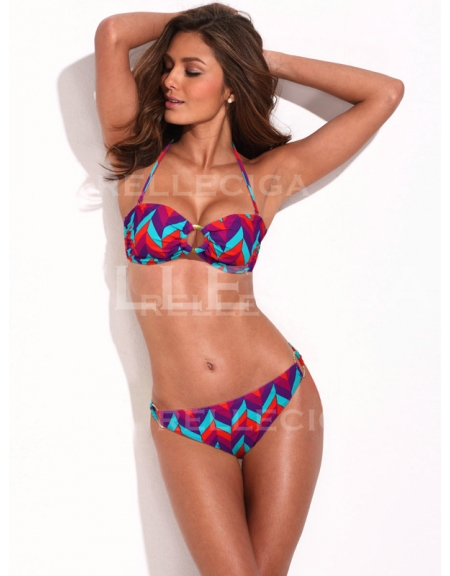 RELLECIGA Colorful Wavy Pattern Bandeau Top Bikini Set with Goldtone Hardware Ring Decos