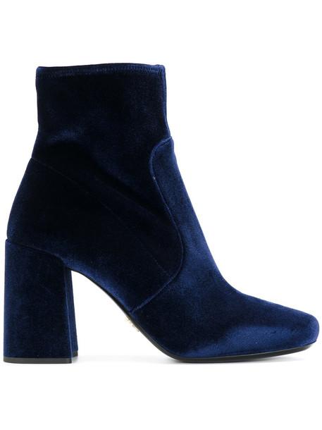 Prada velvet ankle boots women ankle boots leather blue velvet shoes