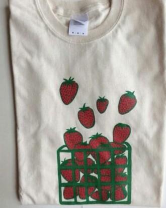 shirt t-shirt strawberry shirt red off white shirts white cream