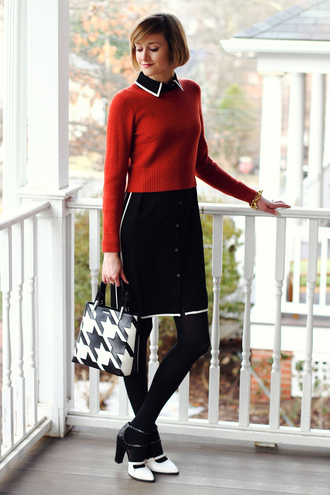 district of chic blogger dress 60s style houndstooth handbag red sweater collared dress black dress