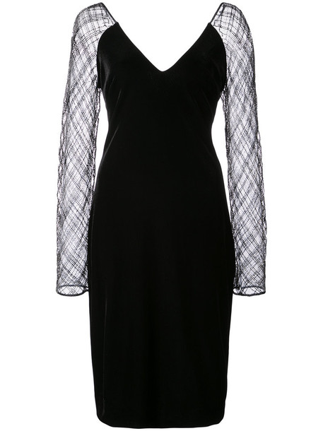 Badgley Mischka dress sheer women spandex black