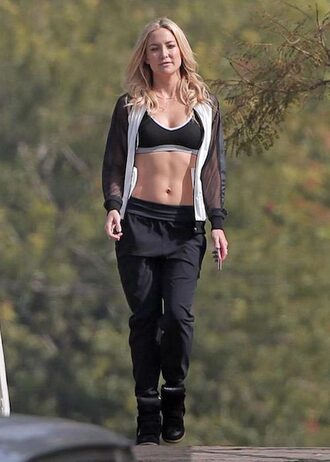 sweater kate hudson actress celebrity workout high top sneakers sweatpants sports jacket