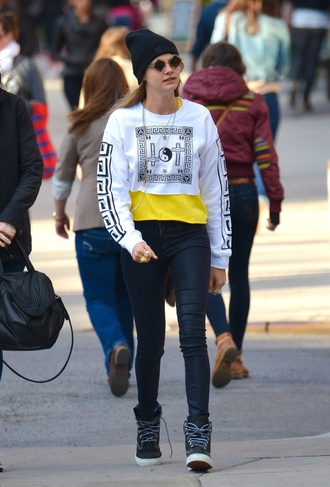 sweater 3766;cara delevingne black and white sweater cotton