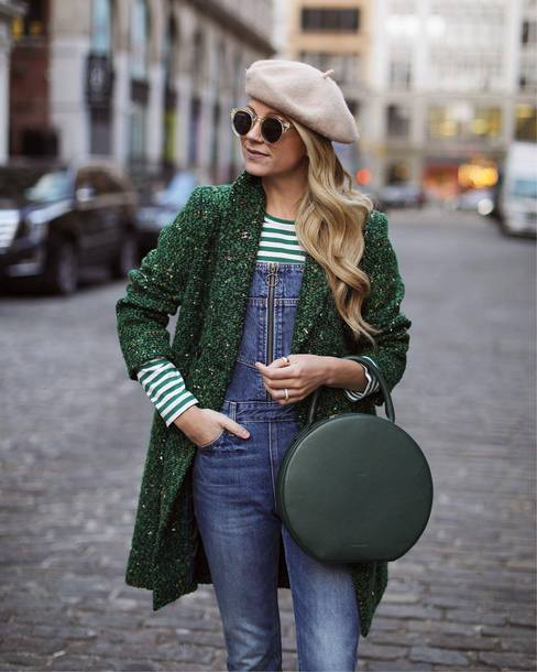 coat tumblr green coat top stripes striped top denim jeans blue jeans overalls dungarees denim overalls bag round bag beret sunglasses jumpsuit