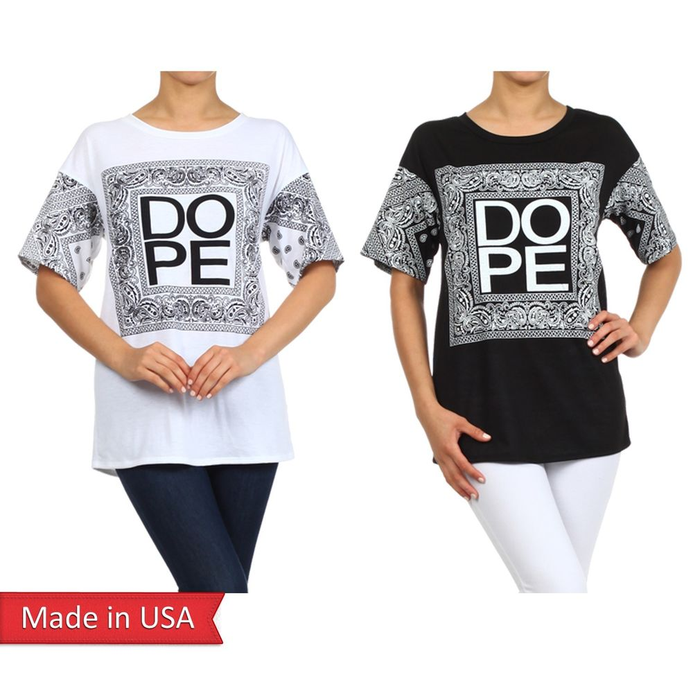 New Women Dope Bandana Paisley Print Black White Short Sleeves Top T Shirt USA