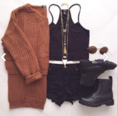 sweater,shoes,cardigan,cute cardigan,knitted cardigan,black top,top,crop tops,halter top,black halter neck top,shorts,black shorts,cut off shorts,necklace,gold,layering necklace,layering chains,sunglasses,black boots,black shoes,black,boots,casual,women,gorgeous,fashionista,cute,cool,girl,tumblr,streetwear,instagram,pretty,beautiful,all black everything,summer outfits,style,trendy,jewelry,jewels,accessories,Accessory,girly,edgy,knitwear,clothes,on point clothing,halter crop top
