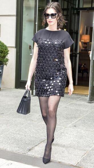 dress mini dress sequin dress anne hathaway black dress little black dress